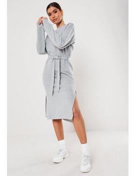 Grey Tie Waist Midi Sweater Dress by Missguided