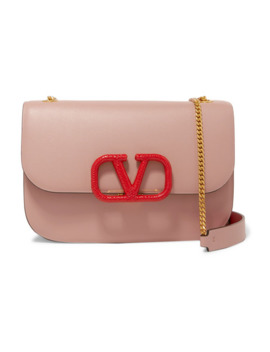 Valentino Garavani Vlock Small Watersnake Trimmed Leather Shoulder Bag by Valentino