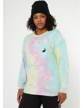 Plus Rainbow Tie Dye Yin Yang Embroidered Tee by Rue21