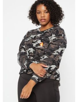 Plus Camo Flame Embroidered Pocket Tee by Rue21