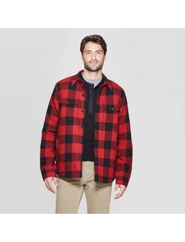 Men's Plaid Sherpa Lined Shirt Jacket   Goodfellow & Co™ Black by Goodfellow & Co