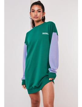Green Colorblock Original Oversized Sweater Dress by Missguided