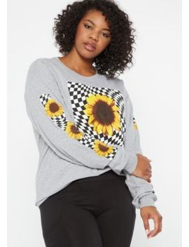 Plus Gray Sunflower Checkered Long Sleeve Graphic Tee by Rue21