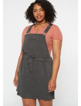Plus Gray Drawstring Overall Dress by Rue21