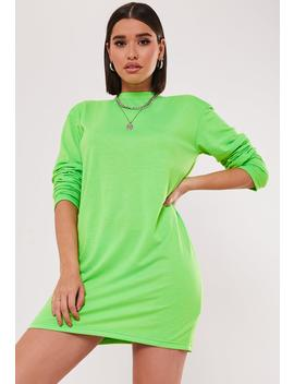 Green Long Sleeve Basic T Shirt Dress by Missguided