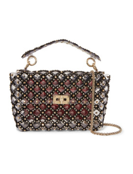 Valentino Garavani Rockstud Spike Medium Embellished Velvet Trimmed Pvc Shoulder Bag by Valentino