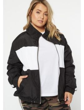 Plus Black Colorblock Sherpa Windbreaker by Rue21