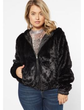 Plus Black Faux Fur Zip Up Hoodie by Rue21