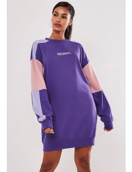 Purple Oversized Colorblock Embroidered Sweater Dress by Missguided