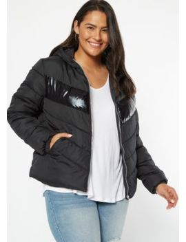 Plus Black Reflective Stripe Puffer Jacket by Rue21