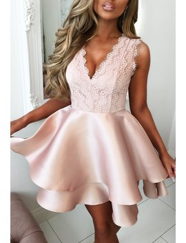 Limited Edition Romantic At Heart Rose Gold Lace Top Double Satin Skater Mini Dress by Pink Boutique