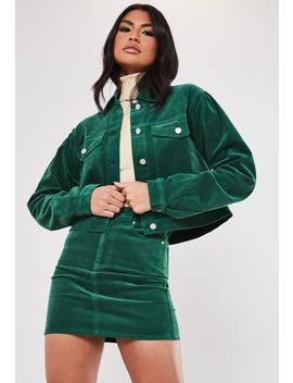Green Co Ord Cord Puff Sleeve Cropped Jacket by Missguided