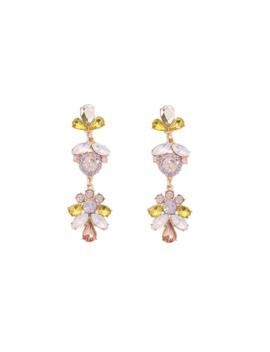 Floral Faux Gem & Rhinestone Drop Earrings by Forever 21