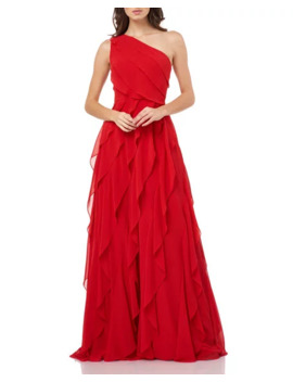 Carmen Marc Valvo Infusion Asymmetric One Shoulder Cascading Chiffon Gown by Carmen Marc Valvo Infusion