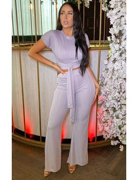 Light Grey Ribbed Belted Co Ord   Alannah by Femme Luxe