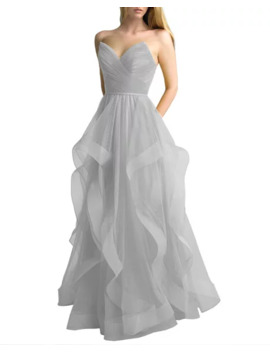 Basix Corseted Tulle A Line Gown With Cascading Skirt by Basix