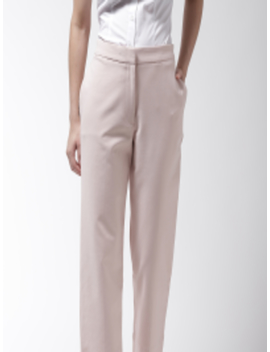 Women Dusty Pink Solid Regular Fit Regular Trousers by Marks & Spencer