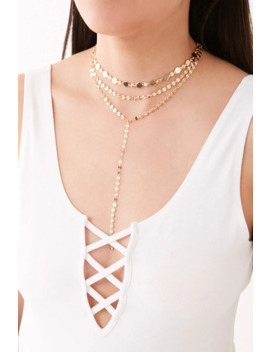 Layered Geo Charm Drop Necklace by Forever 21
