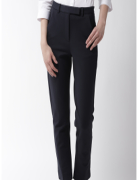 Women Navy Blue Slim Fit Solid Cropped Trousers by Marks & Spencer