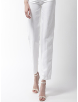 Women White Straight Fit Solid Trousers by Marks & Spencer
