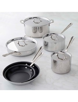 All Clad D3 Tri Ply Stainless Steel Nonstick 10 Piece Cookware Set by Williams   Sonoma