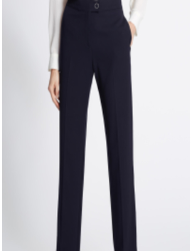 Women Navy Blue Straight Fit Solid Formal Trousers by Marks & Spencer