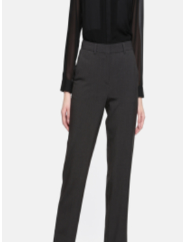 Women Charcoal Grey Regular Fit Solid Regular Trousers by Marks & Spencer