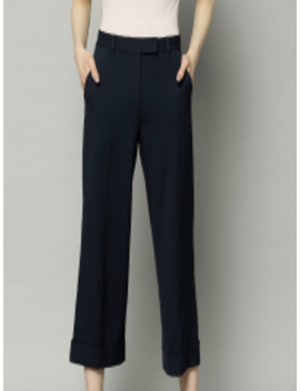 Women Navy Blue Regular Fit Solid Parallel Trousers by Marks & Spencer