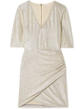 Judy Ruched Textured Lamé Mini Dress by Alice + Olivia