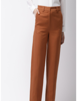 Women Rust Brown Regular Fit Solid Regular Trousers by Marks & Spencer