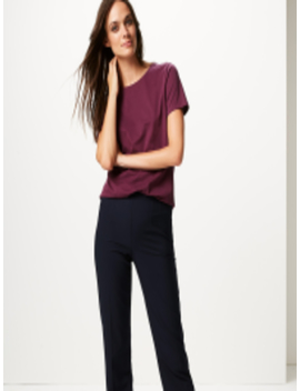 Women Navy Blue Straight Fit Solid Regular Trousers by Marks & Spencer