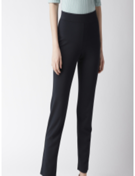 Women Navy Blue Slim Fit Solid Regular Trousers by Marks & Spencer