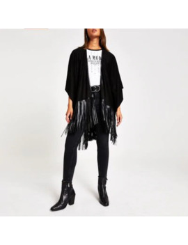 Black Faux Suede Fringe Cape by River Island
