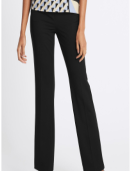 Women Black Straight Fit Solid Formal Trousers by Marks & Spencer