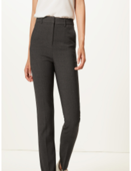 Women Charcoal Grey Slim Fit Self Design Regular Trousers by Marks & Spencer