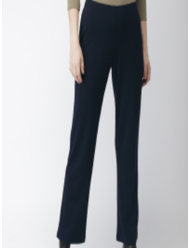 Women Navy Blue Solid Parallel Trousers by Marks & Spencer