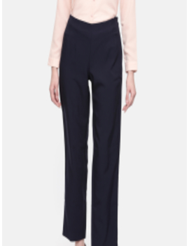 Women Navy Blue Smart Regular Fit Solid Parallel Trousers by Marks & Spencer