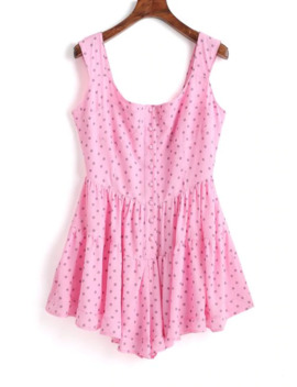 Half Buttoned Polka Dot Sleeveless Romper   Pink L by Zaful