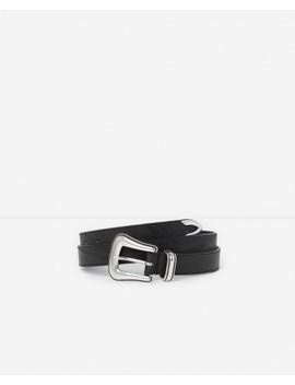 Western Style Black Leather Belt by The Kooples