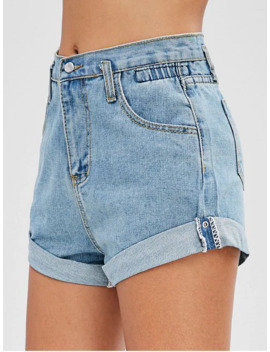 High Waisted Denim Cuffed Shorts   Denim Blue M by Zaful