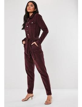 Dark Red Micro Cord Boiler Suit by Missguided