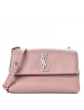 Saint Laurent Grain De Poudre Small West Hollywood Monogram Fold Over Bag Pale Blush by Yves Saint Laurent