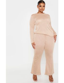 Plus Stone Textured Wide Leg Trousers by Prettylittlething