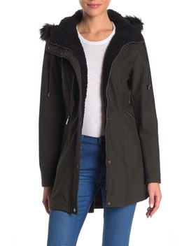 Faux Fur Trim Hooded Coat by French Connection