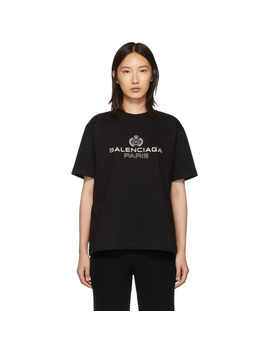Black Paris Laurel T Shirt by Balenciaga
