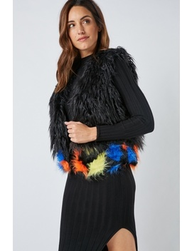 Multi Coloured Shaggy Gilet by Everything5 Pounds