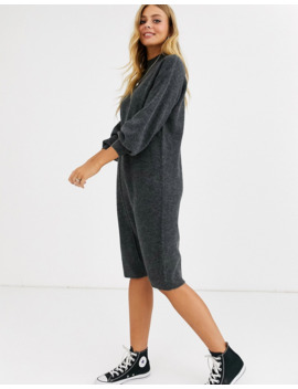 Asos Design Fluffy Midi Dress With Seam Detail by Asos Design