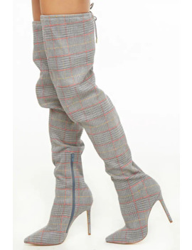 Glen Plaid Thigh High Boots by Forever 21