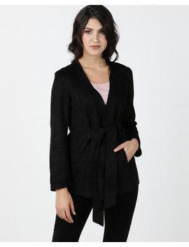 Utopia Sueded Tie Front Jacket Black by Utopia