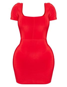 Shape Red Slinky Panelled Bodycon Dress by Prettylittlething